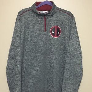 Men's XL Marvel 1/4 zip Pullover LS Shirt Deadpool